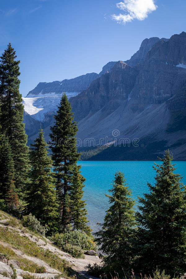 Looking South at Bow Lake, glacier fed lake in the Canadian Rockies - off the Icefield Parkway, Canada stock photos