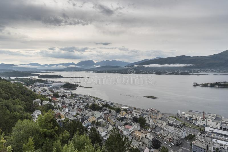 Looking South East from Mount Aksla lookout Ã…lesund. Ã…lesund is a port town on the west coast of Norway, at the entrance to the Geirangerfjord. It stock images