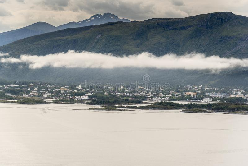 Looking South East from Mount Aksla lookout Ã…lesund. Ã…lesund is a port town on the west coast of Norway, at the entrance to the Geirangerfjord. It stock image