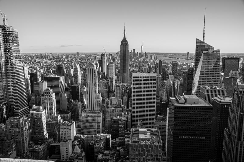 Looking South from the top of Manhattans midtown (NYC, USA. NYCs lower Manhattan with the Empire State Building from a high up point in Midtown royalty free stock image