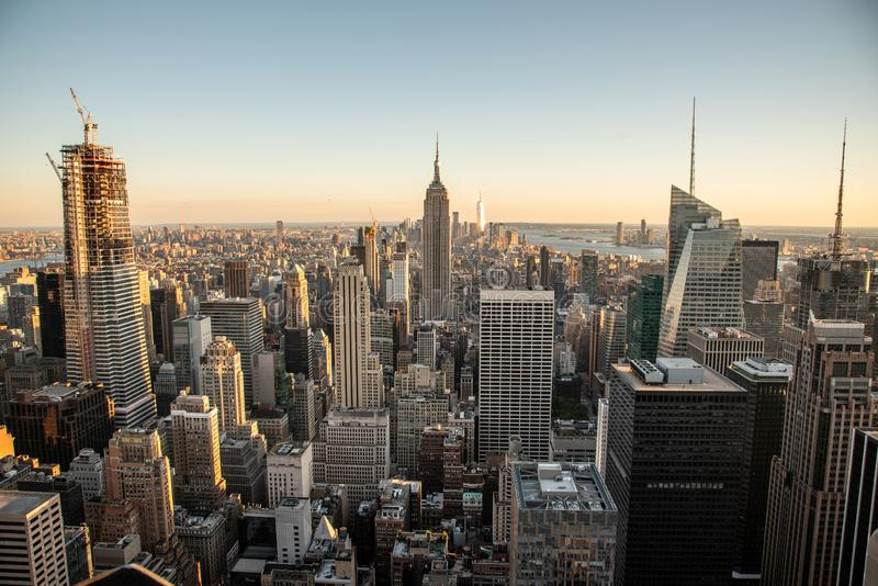 Looking South from the top of Manhattans midtown (NYC, USA. NYCs lower Manhattan with the Empire State Building from a high up point in Midtown royalty free stock images