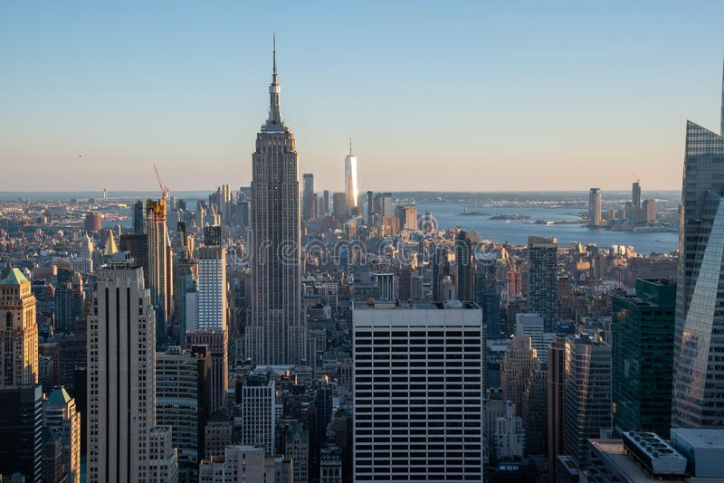 Looking South from the top of Manhattans midtown (NYC, USA. NYCs lower Manhattan with the Empire State Building from a high up point in Midtown stock photo