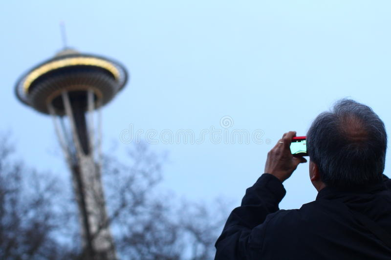 Looking at Space Needle royalty free stock photo