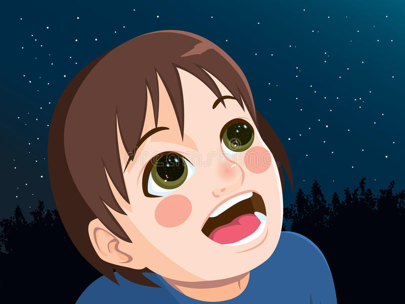 Looking Into Stars. Young happy little boy looking up into the sky at night with reflection of stars in his eyes