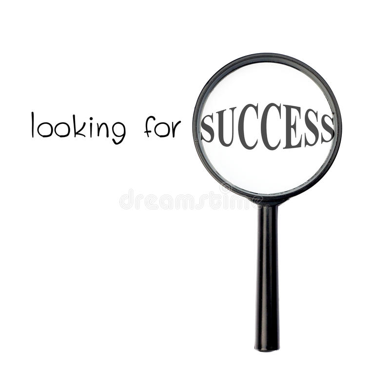 Looking for success with magnify glass. Isolated on white background royalty free stock image