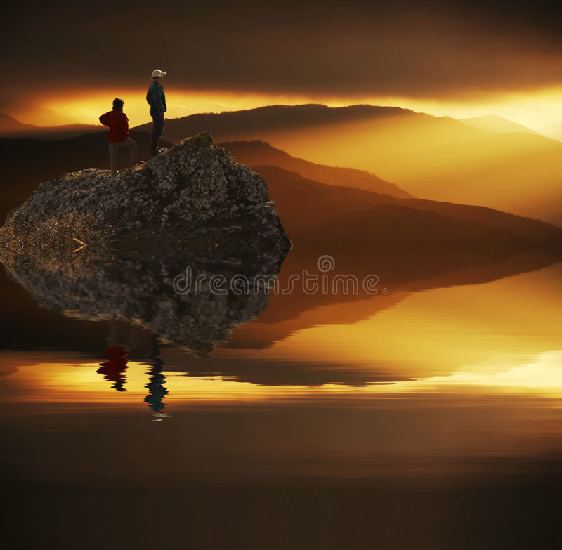 Looking sunset stock photography