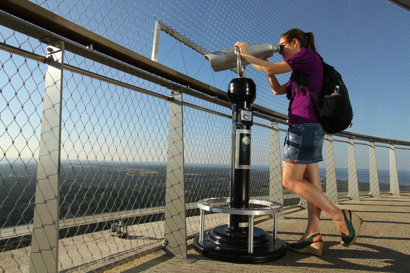 Download Lady Looking Through Telescope Stock Image - Image: 33609261