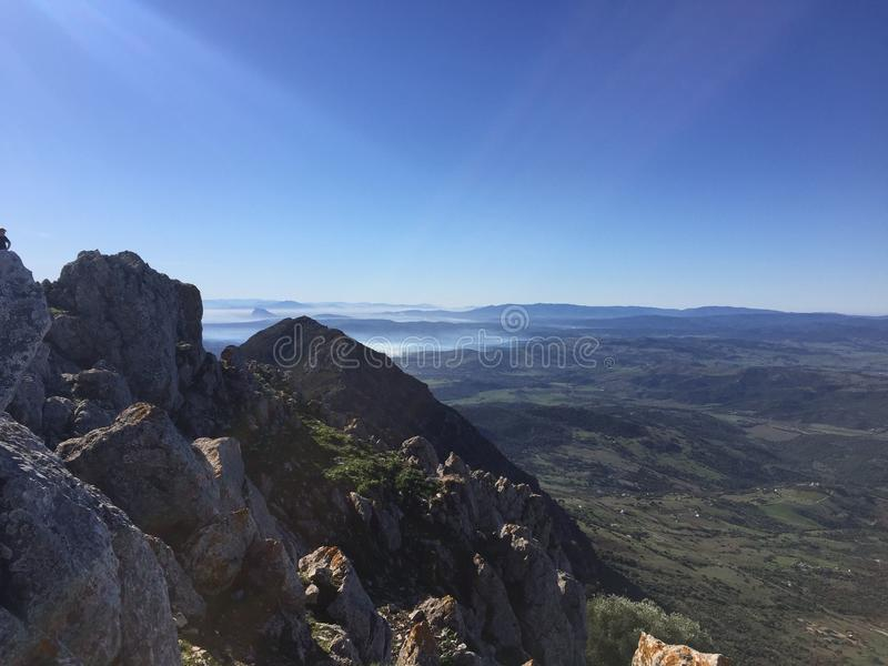 Looking to Gibraltar from the Sierra Crestillina Summit stock photography