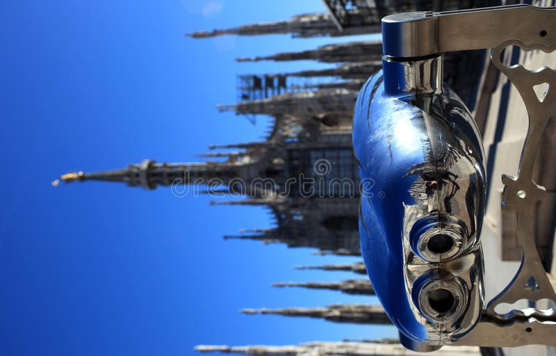 Looking to gothic spires on Duomo stock photography