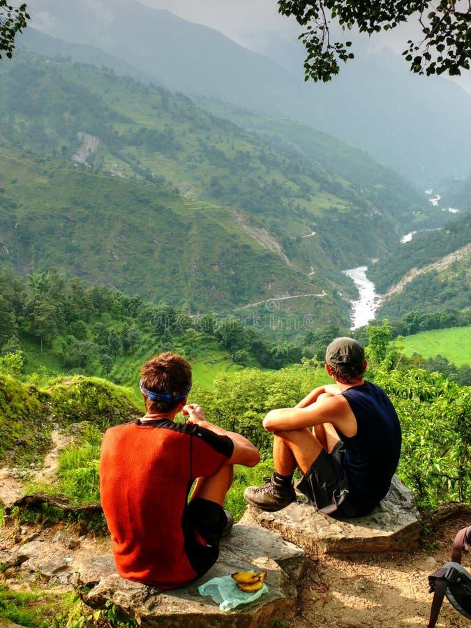 Looking to Marsyangdi valley from Bahundanda - Annapurna circuit - Nepal royalty free stock image