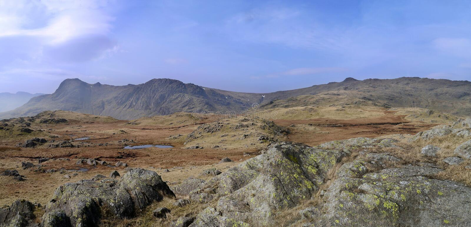 Looking to Pavey Ark, Lake District. Panoramic from area above and south of Easedale Tarn, with Great Langdale down on left royalty free stock photos