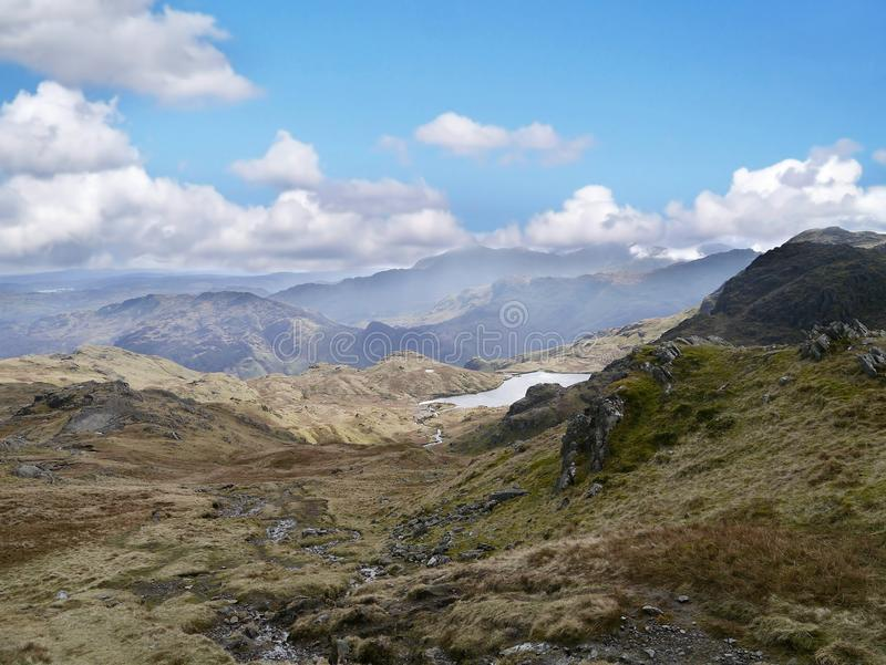 Looking to Stickle Tarn, Lake District. Looking from Sergeant Man Great Langdale way stock image
