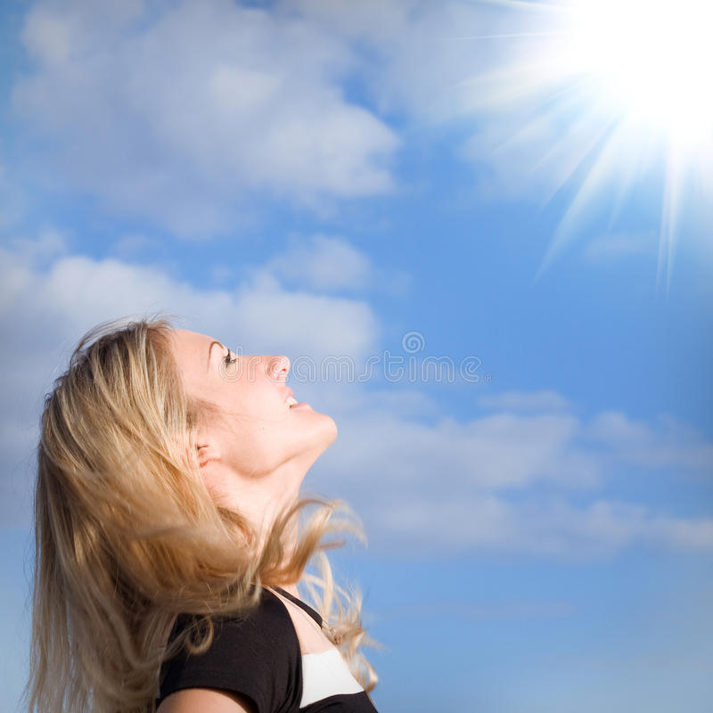 Looking to sun stock photography