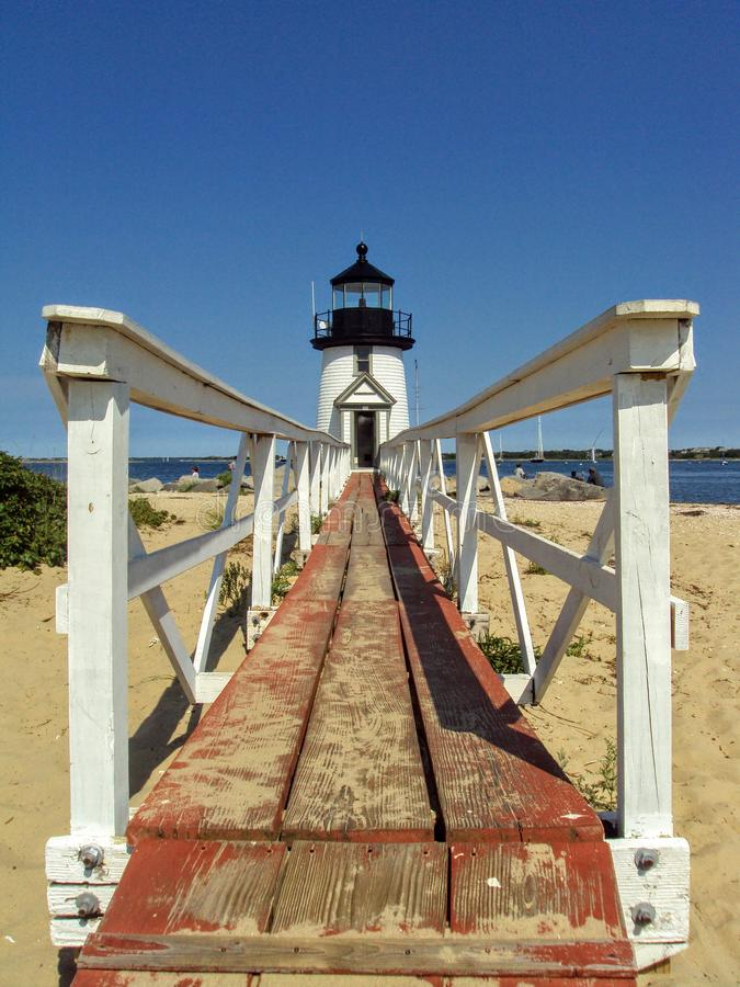Looking towards Brant Point Lighthouse from the ramp, Nantucket, Massachusetts stock image