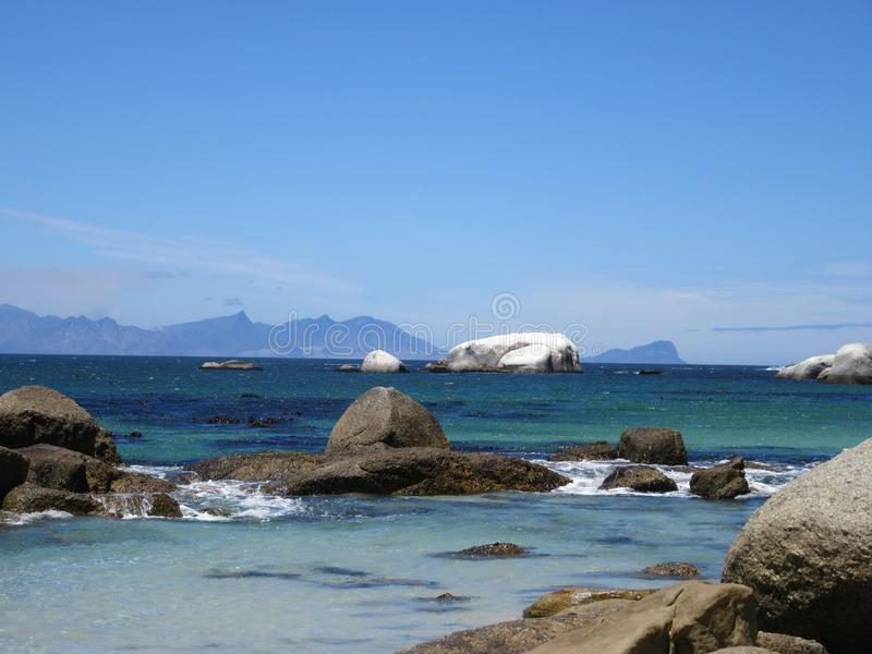 Looking towards Cape Point from Boulders Beach stock photography