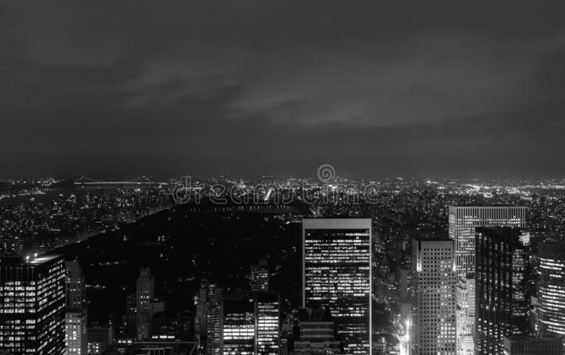 Sundown from the top of the rock - looking northwards over Centeal Park - in black and white stock image