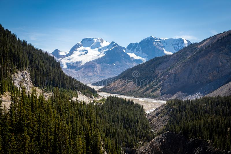 Looking towards Columbia Glacier - Icefield Parkway, Canada stock photography