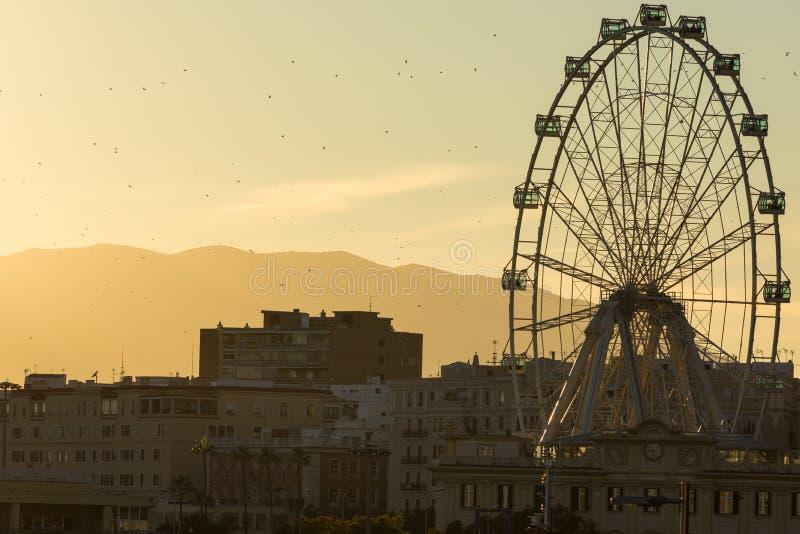 Looking towards the Ferris Wheel Called. `Malaga Big Wheel` `Noria de Malaga`. Andalusia, Spain stock image