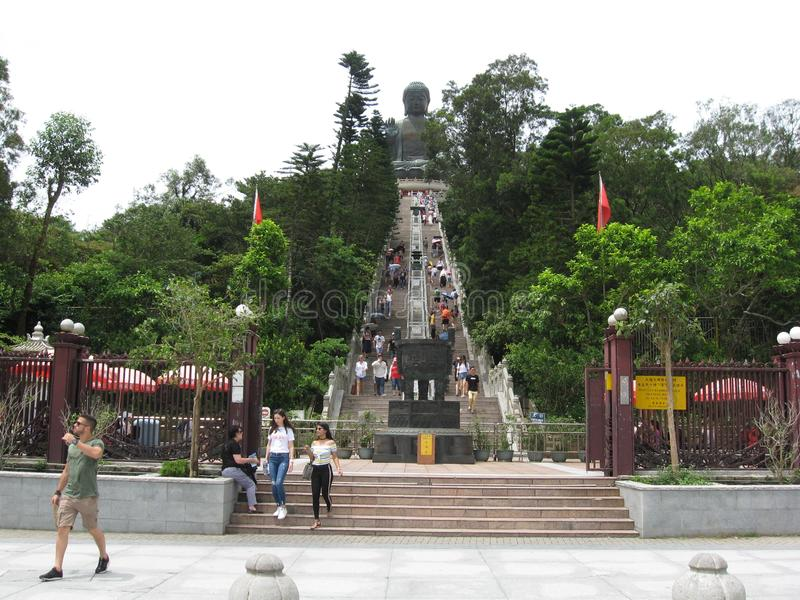 Ngong Ping Piazza, looking towards Tian Tan Buddha, Lantau island, Hong Kong stock photo