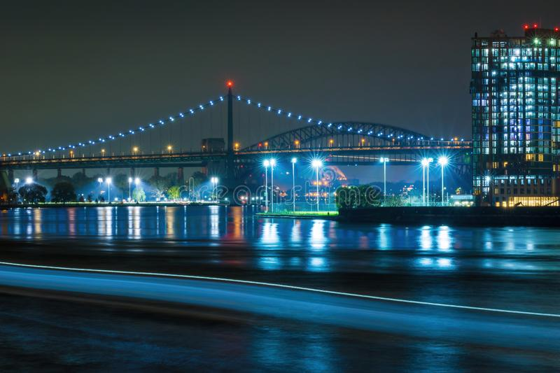 Looking at the Triborough Bridge - Robert F. Kennedy Bridge - from across the East River in Manhattan, New York City royalty free stock photo