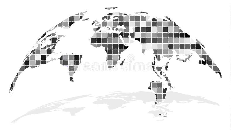 Looking Trough Window of Progress. Creative Map of the World. Globe Map Composed of Small Equal Square Pieces. Diversity Concept. Monochrome Grey Design. Vector stock illustration