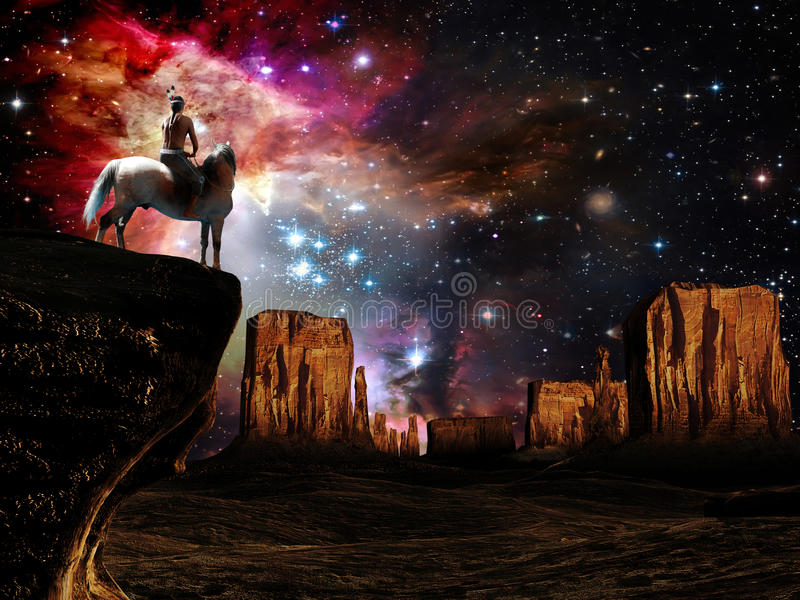 Looking at the Universe. Sat on a white horse, a native american is looking at Monument Valley whereas a magnificent view of the universe rises in front of him
