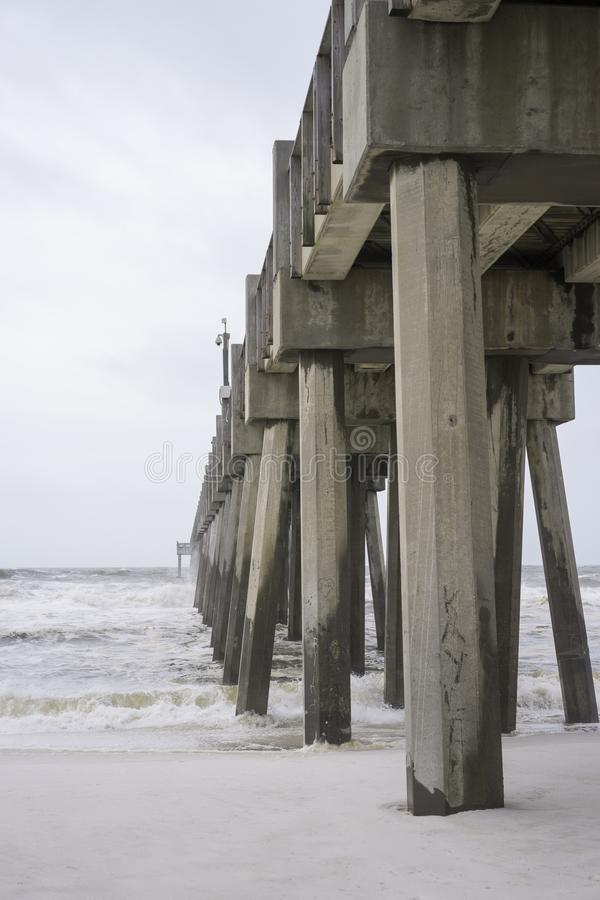 Huge Florida Fishing Pier on Stormy Day stock photography