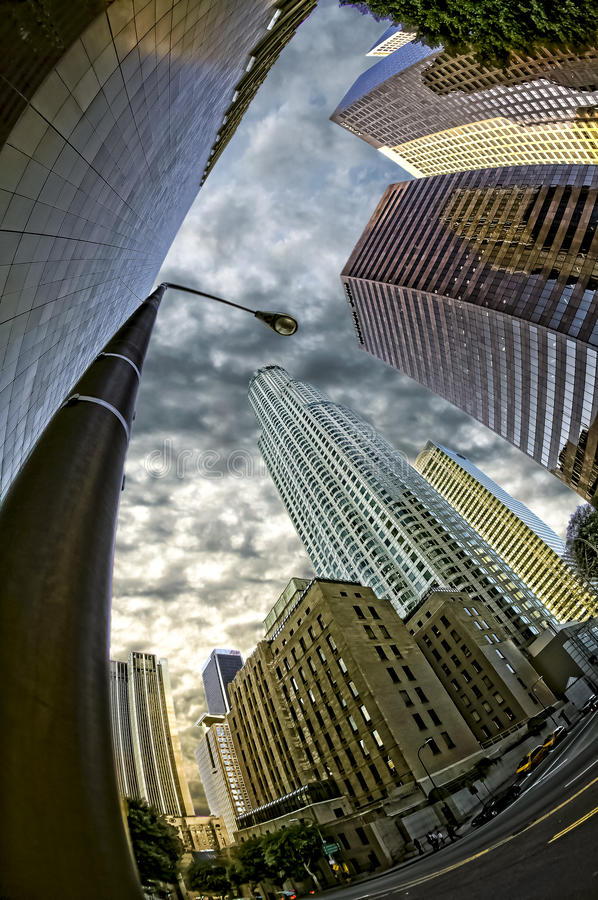 Looking up at the city stock photography