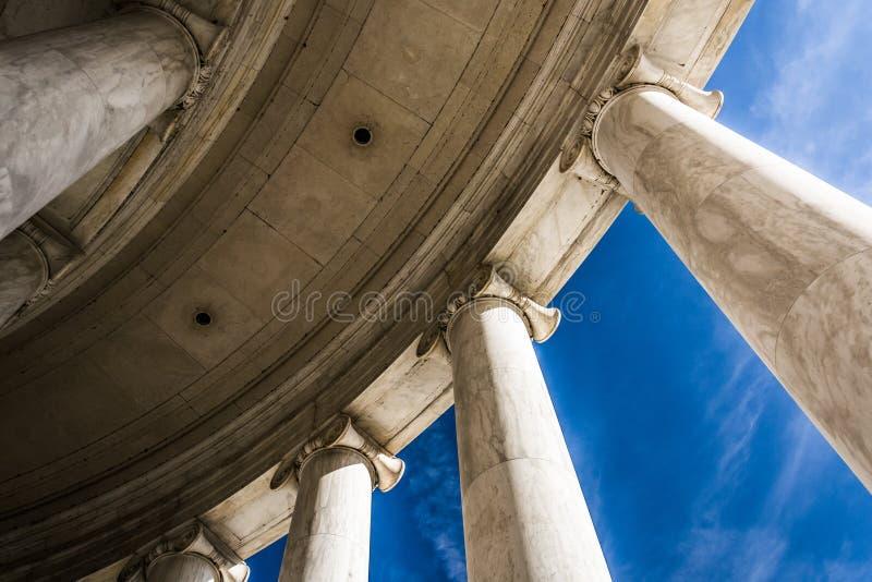 Looking up at columns at the Thomas Jefferson Memorial, Washington, DC. royalty free stock photos