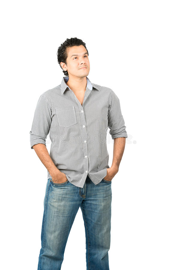 Looking Up Copy Space Staring Latino Interested stock photo