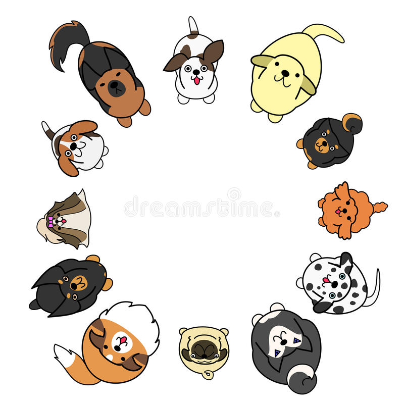 Looking up dogs in circle with copy space vector illustration