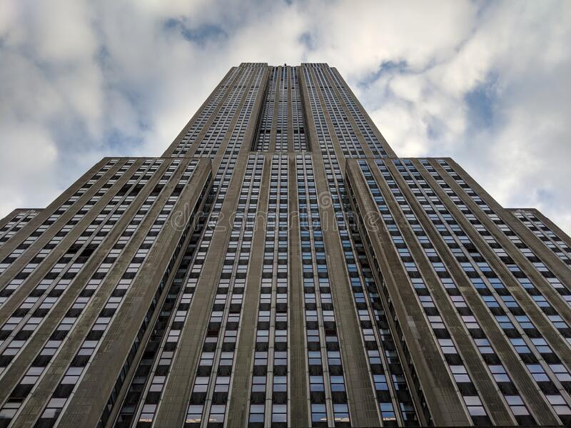 Looking up at the Empire State Building stock photo