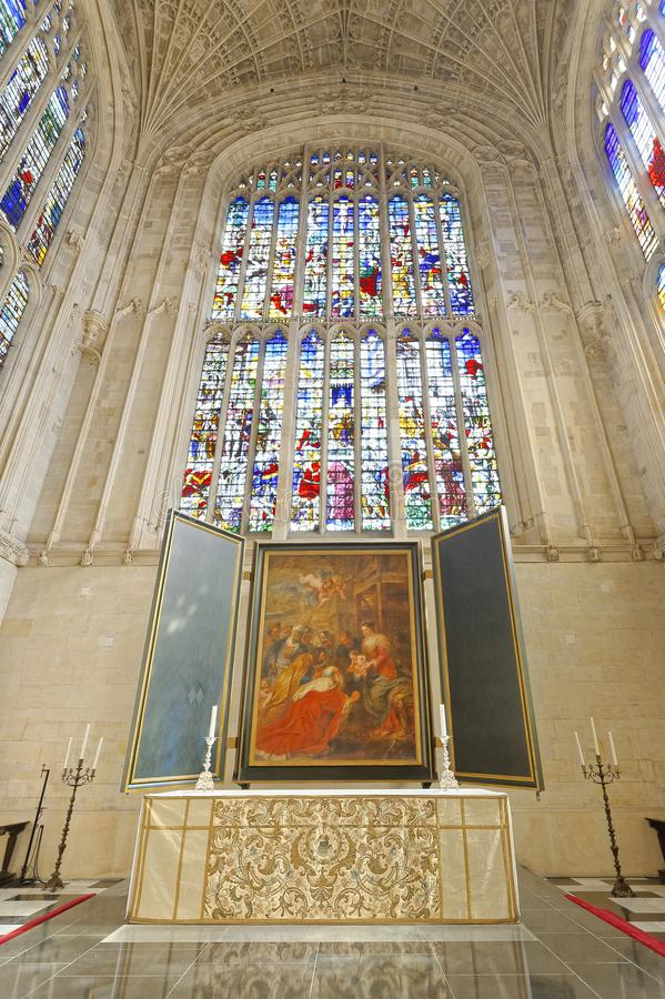Gothic ceiling. Kings College Chapel. masterpiece. Looking up at the famous vaulted ceiling and painting in kings college chapel which has the world`s largest royalty free stock photo