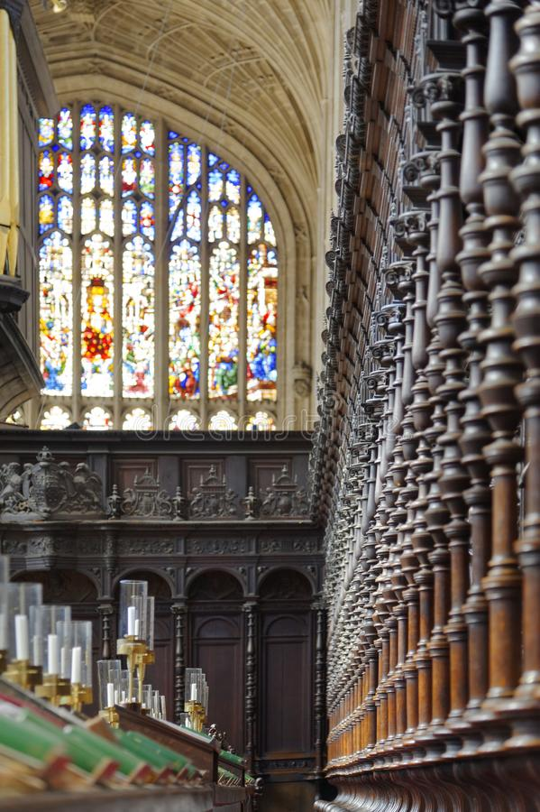 Gothic ceiling and stained glass. Kings College Chapel. masterpiece. Looking up at the famous vaulted ceiling and stained glass windows from the quire in kings stock image