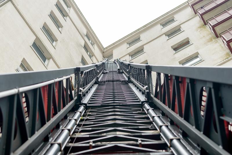 Looking up a Fireman Ladder stock images