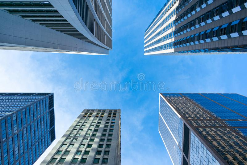 Upwards View of Multiple Skyscrapers in Downtown Chicago royalty free stock image