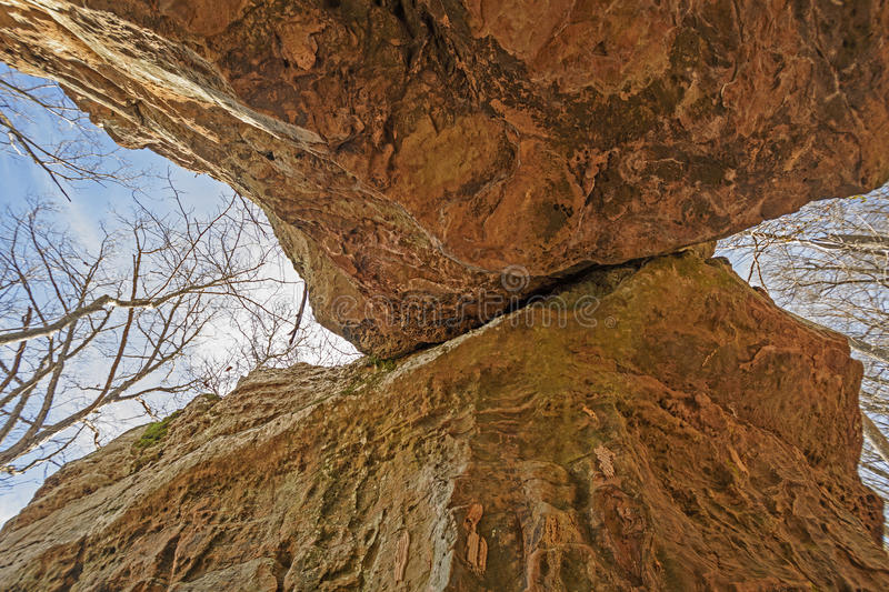 Looking up into a Natural Bridge royalty free stock photo