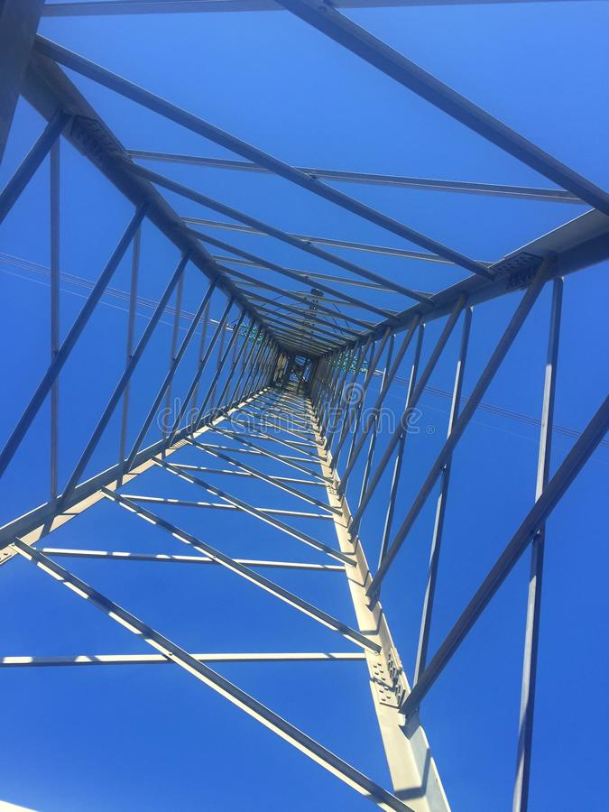 Looking up, power tower royalty free stock photo