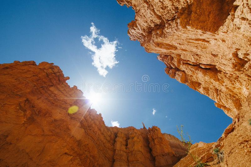 Looking Up Red Rock Desert Cliffs To The Sun Free Public Domain Cc0 Image