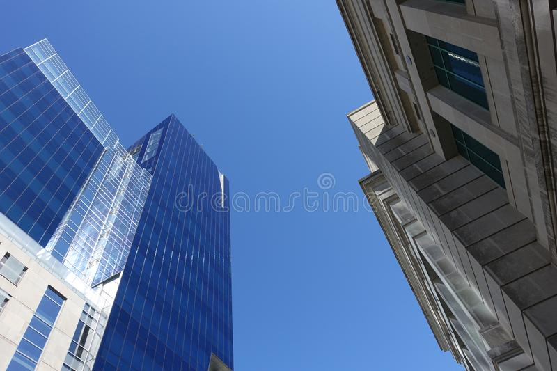 Looking up at Skyscrapers in Downtown Raleigh, North Carolina. Looking up at Old and New Architectural Styles Seen in Downtown Raleigh, NC royalty free stock images