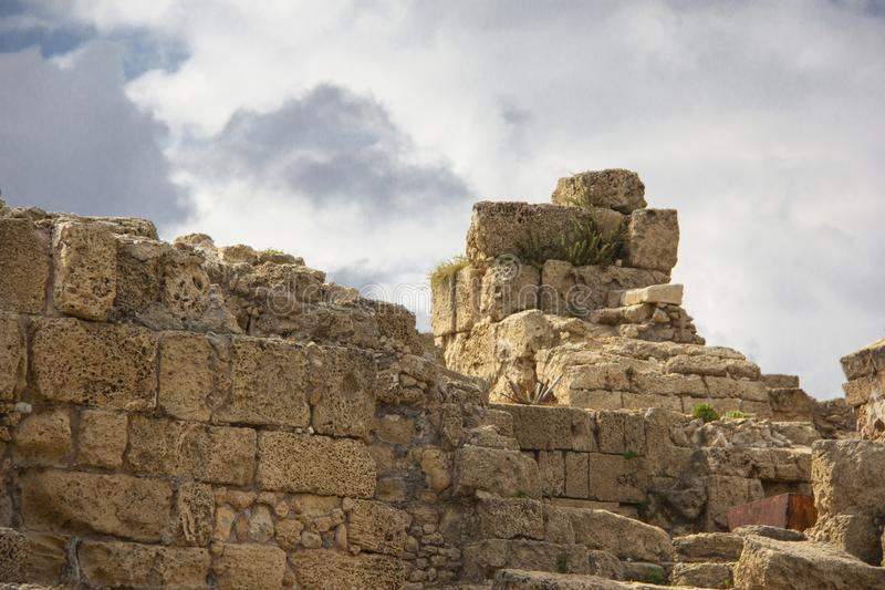 Ruins against the sky in Caesarea stock photography