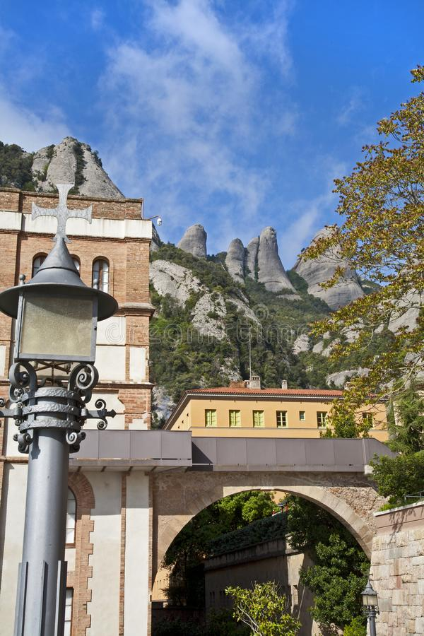 Looking up at the spanish mountains and train stock image