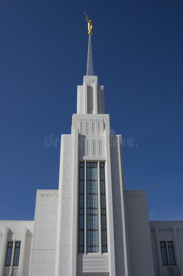 Looking up at statue of Moroni at Mormon Temple royalty free stock image