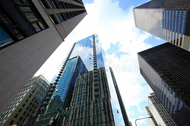 Looking up at tall buildings in Chicago. royalty free stock photos