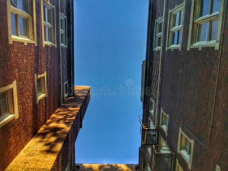 Looking up though the buildings royalty free stock image