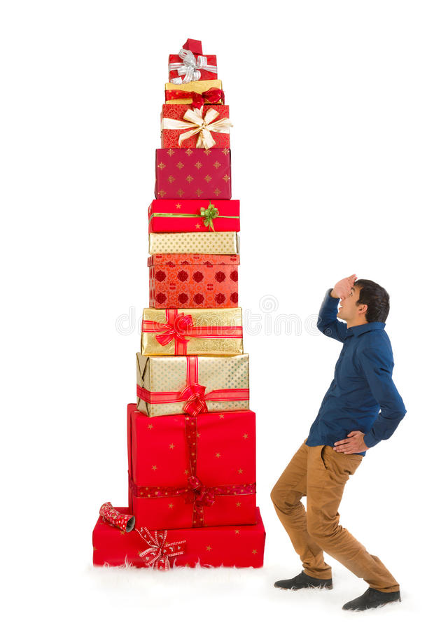 Free Looking Up To Christmas Presents Stacked Royalty Free Stock Photo - 78066595