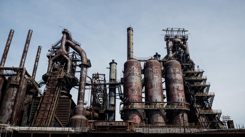 Download Looking Up To An Old Urban Steel Structure Stock Image - Image: 83721315