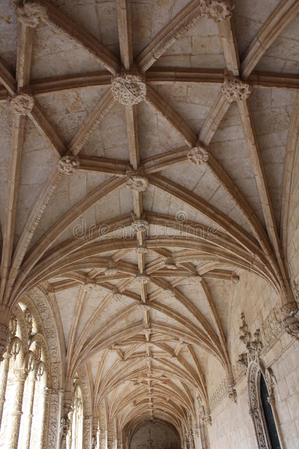 Looking up at the vaulted ceiling of Interior courtyard of the Jeronimos Monastery royalty free stock photography