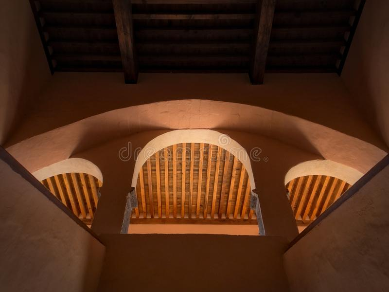 Looking up view of the archs of the main steps of the ex-convent Centro Cultural `El Nigromante` in San Miguel de Allende royalty free stock photos