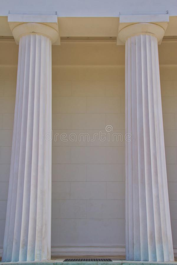 Looking up at White Marble Pillars stock photo